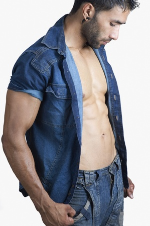 bare chest: Close-up of a macho man Stock Photo