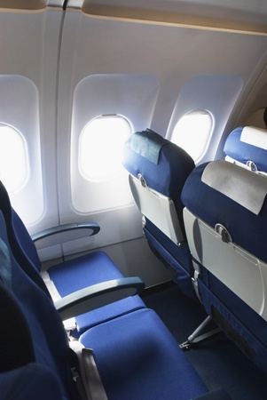 Empty seats in an airplane Stock Photo