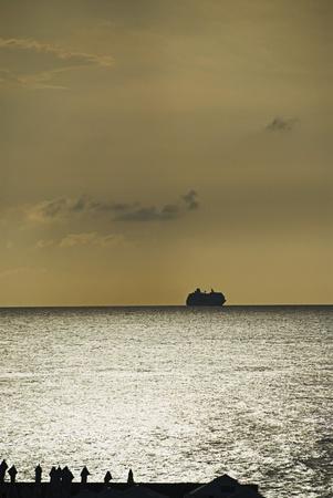 placidness: Silhouette of a ship in the sea, Malta