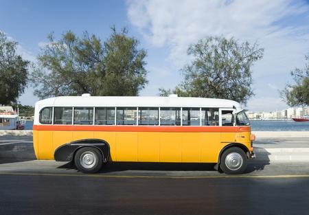 Bus on the road, Valletta, Malta