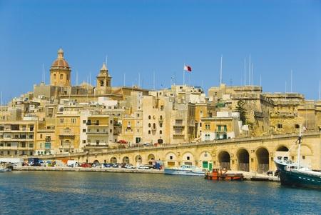 Buildings at the waterfront, Grand Harbor, Valletta, Malta