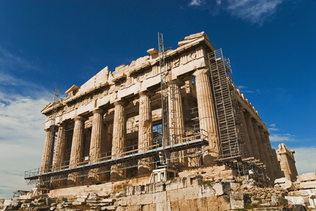 Ancient temple under renovation, Parthenon, Acropolis, Athens, Greece 写真素材