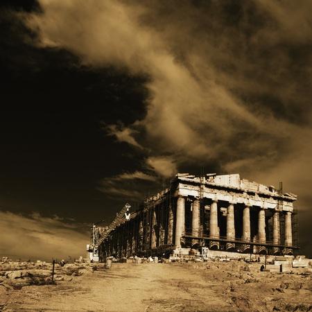 antica grecia: Antico tempio in fase di ristrutturazione, Partenone, Acropoli, Atene, Grecia Archivio Fotografico