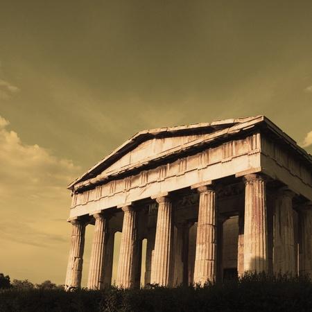 Ruins of an ancient temple, Parthenon, Acropolis, Athens, Greece Stock Photo