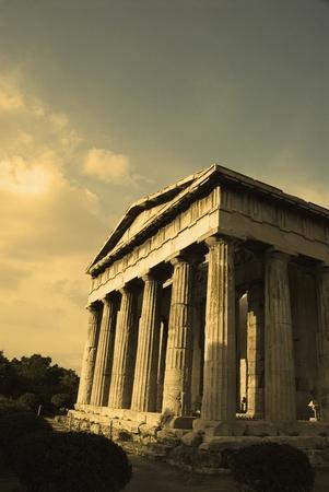 Colonnade of an ancient temple, Parthenon, Acropolis, Athens, Greece photo