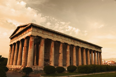 Colonnade of an ancient temple, Parthenon, Acropolis, Athens, Greece photo