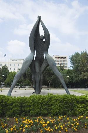 Statue in a garden, Klafthmonos Square, Athens, Greece photo