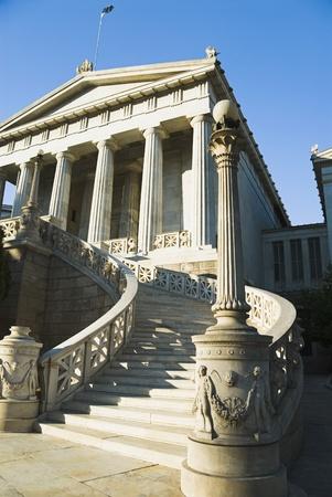 Facade of an educational building, Athens Academy, Athens, Greece Stock Photo