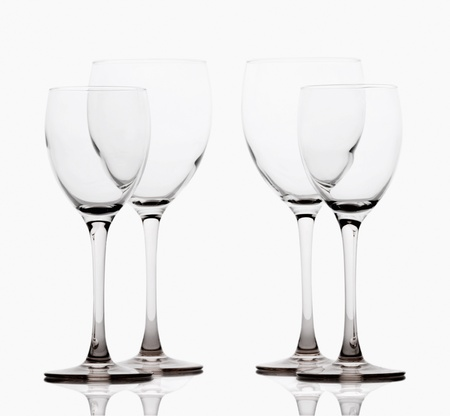 Close-up of empty wine glasses on a table