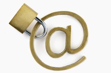 telecommunicate: Padlock with at symbol