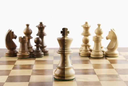 schemes: Close-up of chess pieces on a chessboard Stock Photo