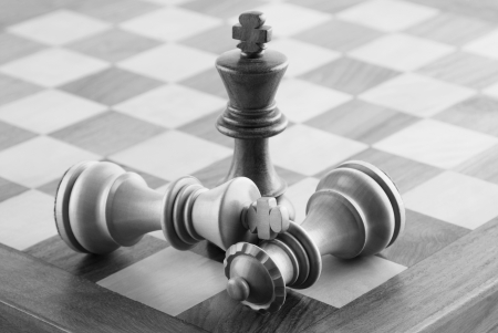 freetime: Close-up of chess pieces on a chessboard Stock Photo