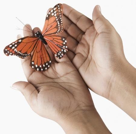 alzando la mano: Mujer cogidos de la mano de una mariposa