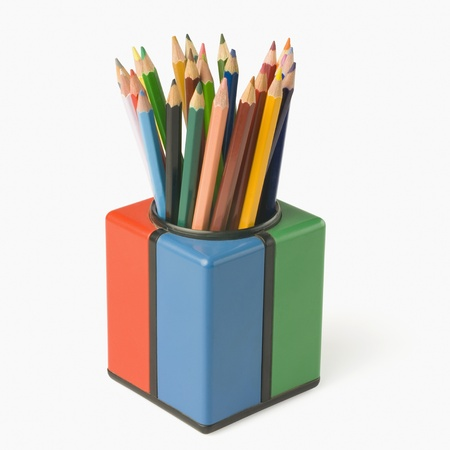 Colored pencils in a pencil stand photo