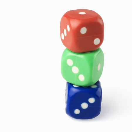 Three dices in a stack