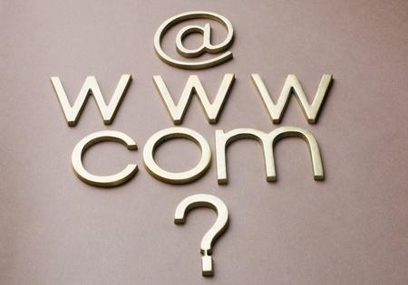 bedlam: Question mark with internet symbols Stock Photo