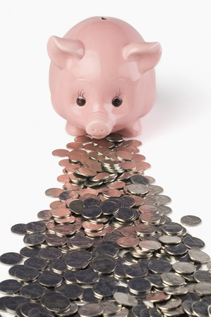 Coins in front of a piggy bank photo