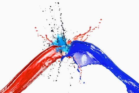 Splash de peintures de couleurs différentes sur un fond blanc Banque d'images - 10231766
