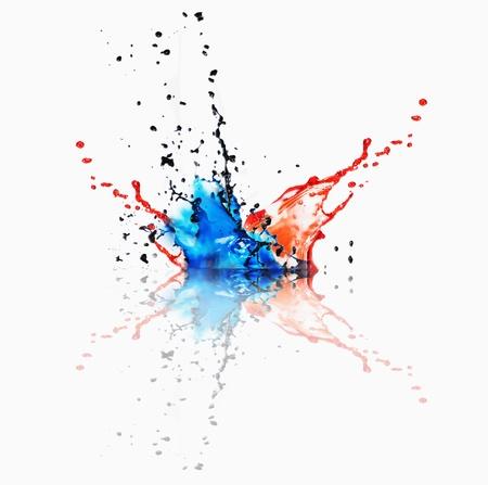 Splash van verschillende kleuren verf op een witte achtergrond