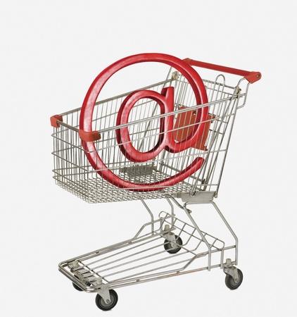 Internet symbol in a shopping cart
