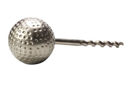 chrome man: Close-up of a golf ball shaped corkscrew Stock Photo