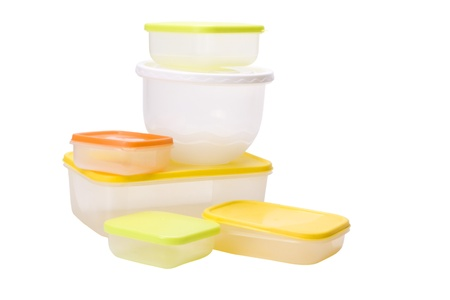 airtight: Collection of assorted plastic containers Stock Photo