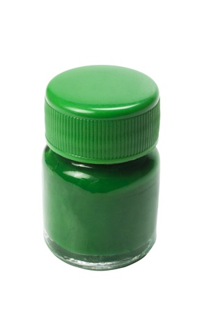 Close-up of a green watercolor bottle photo