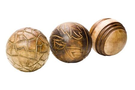 showpiece: Close-up of decorative wooden balls Stock Photo