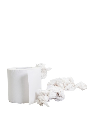 tissue paper: Close-up of a toilet paper roll with crumpled papers