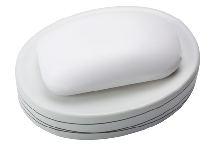 Close-up of a bar of soap on a soap dish Stok Fotoğraf