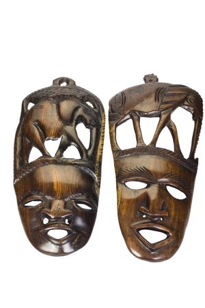Close-up of two wooden masks photo
