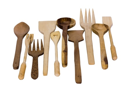 Close-up of assorted wooden kitchen utensils photo