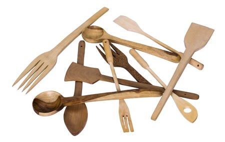 Close-up of assorted wooden kitchen utensils