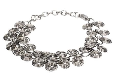 Close-up of a silver necklace Stock Photo - 10237093
