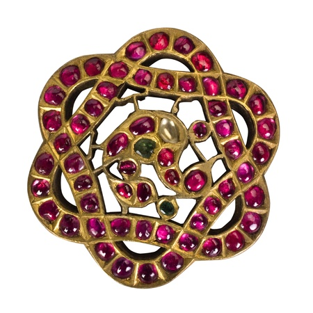 Close-up of a brooch made from gemstones photo