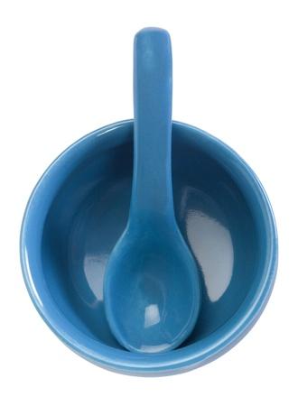 soup spoon: Veduta dall'alto della ciotola in ceramica e cucchiaio