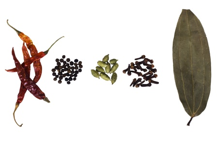 High angle view of assorted spices photo