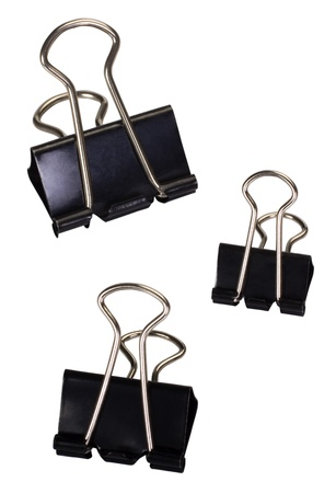 cut paper: Close-up of binder clips