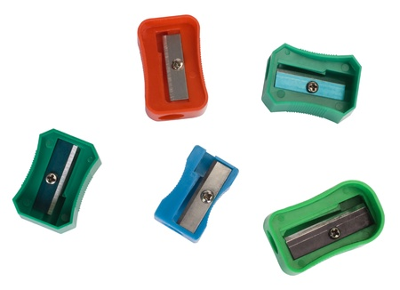 Close-up of assorted colorful pencil sharpeners