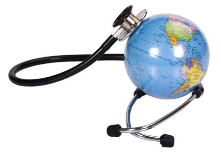 stethoscope: Close-up of a globe with a stethoscope Stock Photo