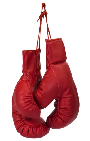guantes de boxeo: Primer plano de un par de guantes de boxeo Foto de archivo