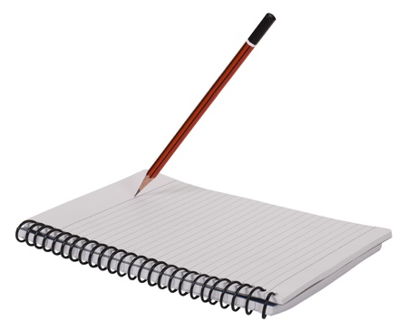 toge: Close-up of a pencil on a spiral notebook