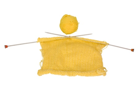 Close-up of a ball of wool with knitting needles Stock Photo