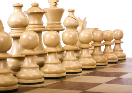 excellent: Close-up of chess pieces on a chessboard Stock Photo