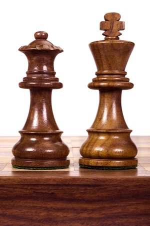 chess board: Close-up of a king and a queen chess pieces Stock Photo