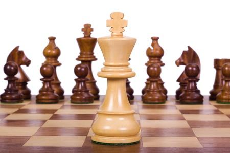 Piezas de ajedrez sobre un tablero de ajedrez Foto de archivo - 10239682