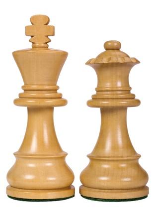 ajedrez: Primer plano de un rey y una reina de las piezas de ajedrez
