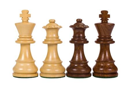 Close-up van een koning en een koningin schaakstukken