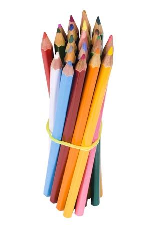 Bundle of colored pencils tied with an elastic band photo
