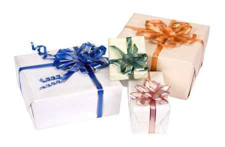 Close-up of gift boxes photo
